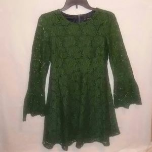 NWT Zara green lace mini dress.